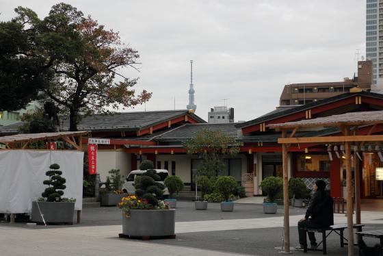 神田明神の境内から東京ツリーを望む