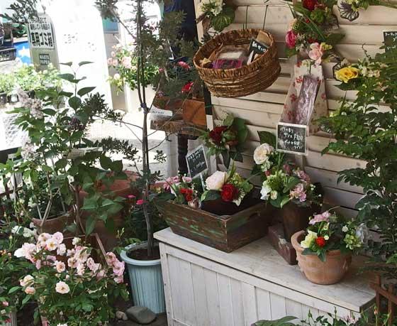 春のばら苑の中に園芸店がある